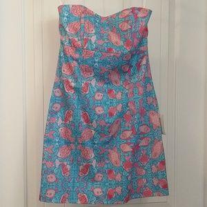 NWT Kaeli Smith fish strapless dress,8,blue, pink